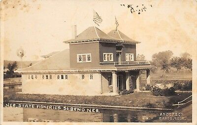D95/ South Bend Nebraska Ne Real Photo RPPC Postcard c1910 State Fisheries