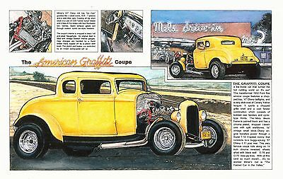 American Graffiti Coupe Color Art PRINT 1932 Ford hot rod gasser John Milner