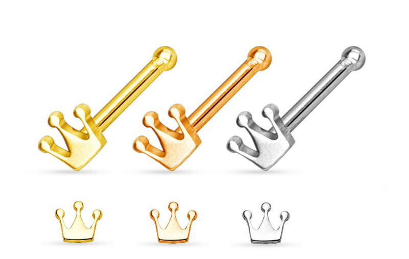 3pcs Crown Style 20g Nose Studs Bones Wholesale Body Jewelry 20 gauge