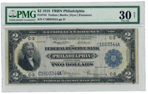 """$2 1918 FRBN Philadelphia FR# 754 PMG 30 Very Fine """"NET"""" Battleship"""