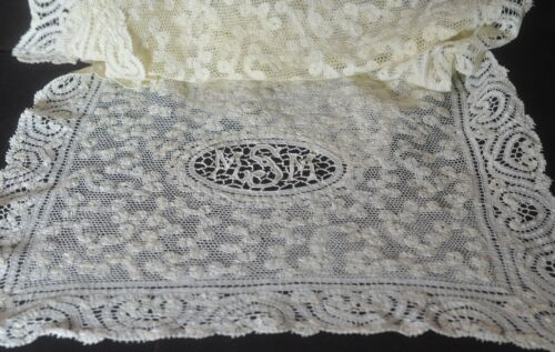 "Vintage Antique CANTU LACE RUNNER ""MMS"" Monogram VV235"