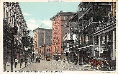 LA - 1910's Trolley on St. Charles St from Canal in New Orleans,  (Canal St In New Orleans)