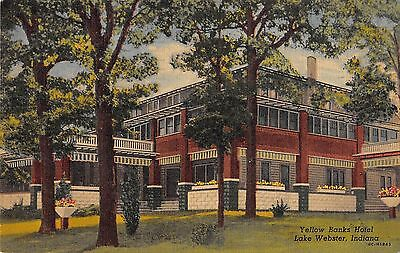Yellow Banks Hotel  Lake Webster  Indiana Antique Postcard  T3498