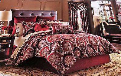 J Queen New York Sauvignon 4PC Queen Comforter Set Red