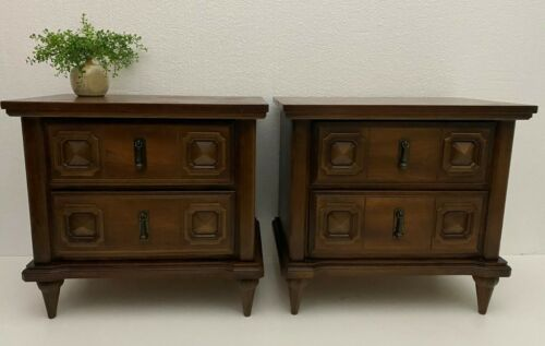 Vintage Mid Century Nightstands Side Tables Traditional Pecan Wood