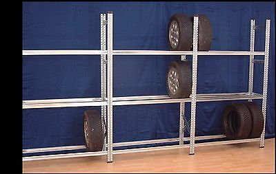 4 Felder Reifenregal,  L 4,9 m, 3 Etagen, für 48- 60 Kompletträder geeignet, NEU