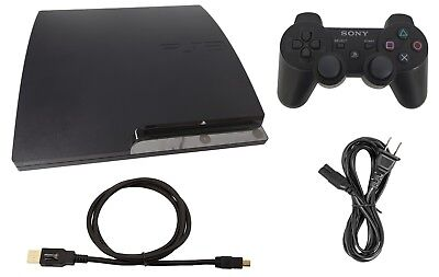 Sony PlayStation 3 Slim PS3 320GB Charcoal Black Console +DualShock 3 Controller