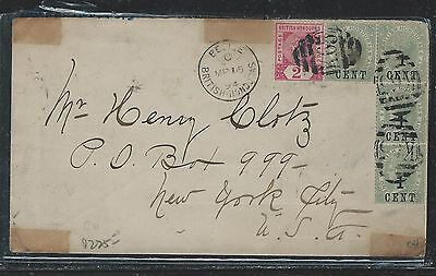 BRITISH HONDURAS (P1106B) 1894 QV 2C+1C SURCH X4 COVER TO USA