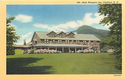 Cashiers North Carolina High Hampton Inn Lawn Chairs On Veranda 1946 Postcard