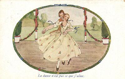 PC RIE CRAMER, ARTIST SIGNED, LA DANCE N'EST, VINTAGE POSTCARD (b7152)
