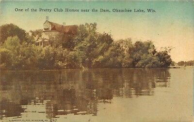 Okauchee Lake Wisconsin~Handcolored~Huge Club House Nestled Among the Trees 1911