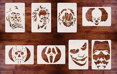 Halloween Movie Pumpkin Stencils (Halloween Stencil Set, 8 Pieces, 6in x 9in, Movie Faces, for Pumpkin)