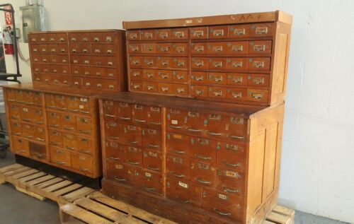 vintage oak hardware store counter cabinet galvanized drawers 5 Pcs