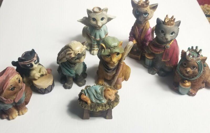 Christmas Cat Nativity Set Complete 9 Pc Resin Figures WMG 2006