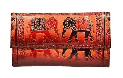Genuine Leather Elephant Design Shantiniketan Clutch Womens Wallet Boho Purse