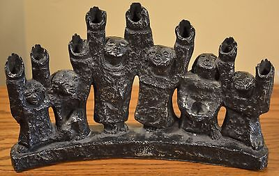 AWESOME Antique Jewish Metal Menorah, Men Holding Hands Up, Sculpted Metal Art