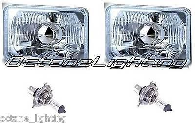 4X6 Halogen Semi Sealed H4 Headlight Headlamp Bulbs Diamond Crystal Clear Pair