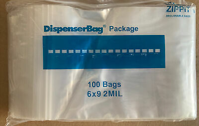 100- 6 X 9 6x9 Zip Lock Resealable Plastic Bags 2 Mil Reclosable Poly Clear