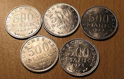 500 Mark 1923 A D E F G Kommplettsatz ohne J