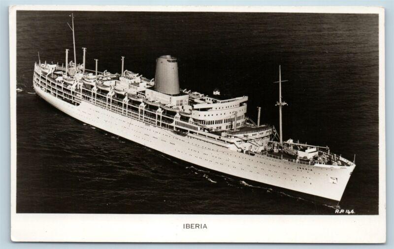 Postcard P&O Steam Navigation Line SS Iberia Steamer Ship RPPC Photo V7