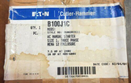 Cutler-Hammer B100J1C AC Manual Starter Size 1, 3 Phasse Nema 12 Enclosure