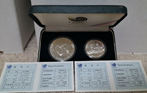 1988 South Korea Silver Proof Olympics 2 coin set - Diving & Tug of War w/ COA