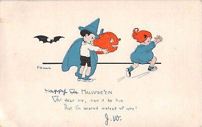c.1920 sgd. E. Weaver Boy with Jack O'Lantern & Girl Halloween post card
