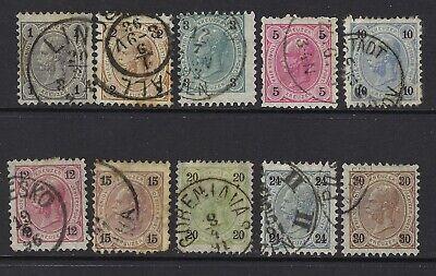 AUSTRIA SC# 51-60, USED, LOT 1-7-78