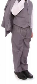 Boys grey 5 piece suit, formal, wedding, Brand New, age 15