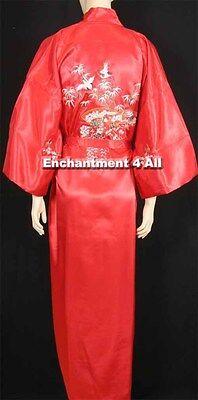 Bestickte Satin-robe (Bestickt Fliegend Crane Seide Satin Kimono Robe Nachtwäsche Langer/Taillenband,)