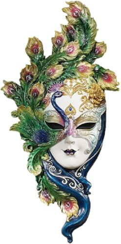 NEW! Venetian Mystical Peacock Mask Wall Plaque Hanging Colorful Feathers 1816