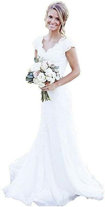 SIQINZHENG Mermaid Full Lace Wedding Dresses Cap Sleeve Bridal Gowns