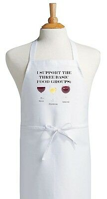 I Support The Three Basic Food Groups Funny Wine Apron | Kitchen Chef Aprons