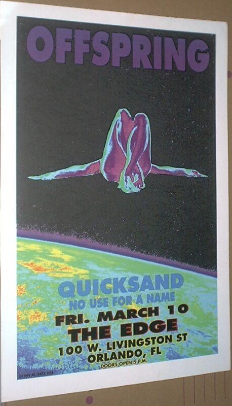 Offspring Quicksand RARE LIVE 1995 CONCERT GIG POSTER Original M. Getz/no-cd/lp