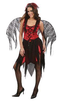 Ladies Red Hot Wings Fancy Dress Costume Devil Fallen Angel Set Halloween Demon](Angel Demon Halloween Costumes)