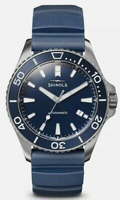 New Shinola Monster Blue Dial Rubber Strap Men's Watch S0120097179 AUTO $1250.00