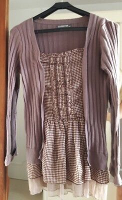 pull blouse gilet tunique all in 1 brun taupe + mini carreau blanc taupe 40-42