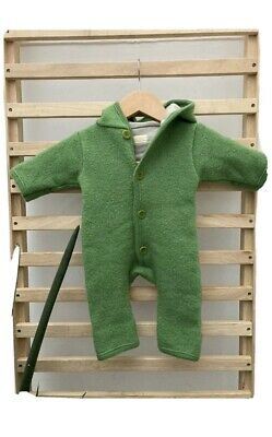 DISANA Baby Organic Boiled Wool Hooded Walk Overall Pramsuit in Green 0-3m 50/56