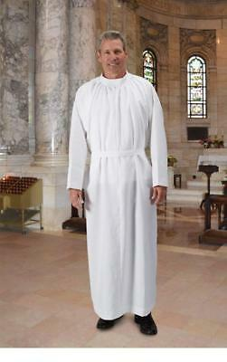 R.J. Toomey White Plain Light-Weight Self-Fitting Clergy Alb (Extra Small)