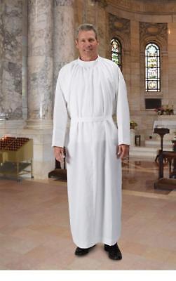 R.J. Toomey White Plain Light-Weight Self-Fitting Clergy Alb (Extra Large)