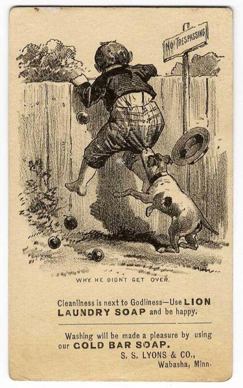 Wabasha MN LION & GOLD BAR SOAP Victorian Trade Card BOY & DOG Bite 1880