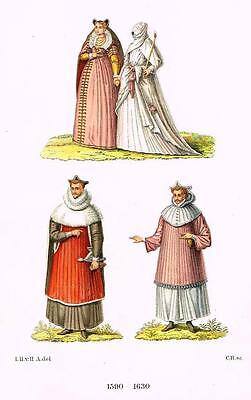 "Chromolithograph MIDDLE AGES - ""FANCY REGAL DRESS"" by Hefner-Alteneck in 1840"