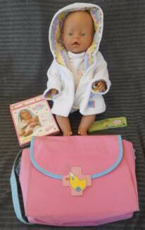 BABY BORN DOLL + MEDICAL BAG WITH INSTRUMENTS AND 5 FOOD SACHETS