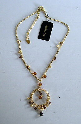 Cookie Lee Fashion Jewelry Mocha Luster Necklace Goldtone