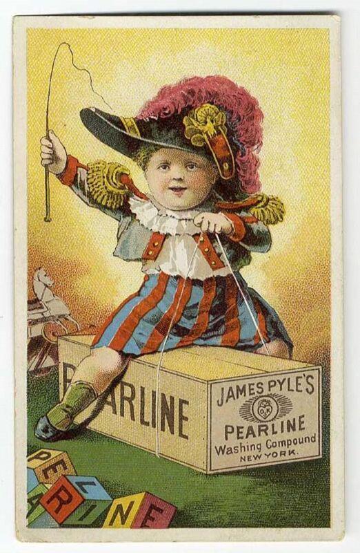 LITTLE BOY Riding PEARLINE Soap Box VICTORIAN Trade Card 1880