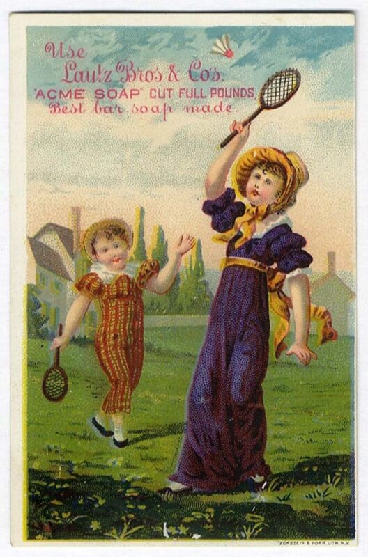 Badminton ACME SOAP Lautz Bros CHILDREN Playing Victorian Trade Card 1880