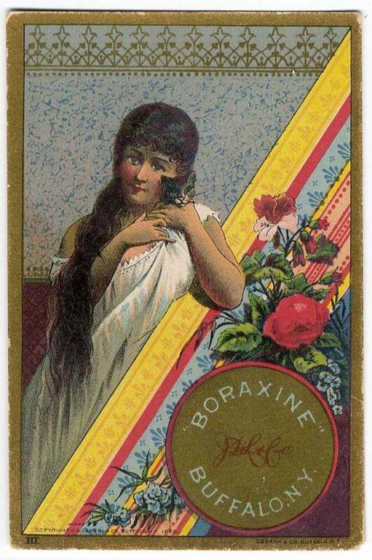 Woman Kitten Cat BORAXINE John Larkin VICTORIAN Trade Card 1882