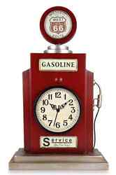 Red Gas Pump Clock Route 66, Tabletop Mantle Desk Table Vintage Rustic Charm New