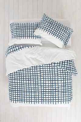Urban Outfitters Assembly Home Hand Drawn Grid Duvet Cover