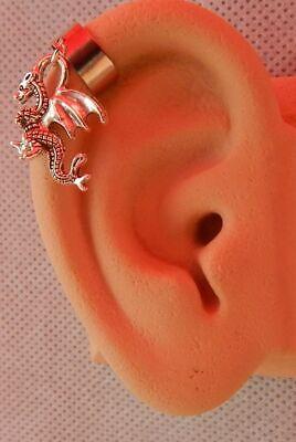 Dragon Ear Cuff Silver Charm Drop/Dangle Handmade Jewelry Earring Wrap Vintage
